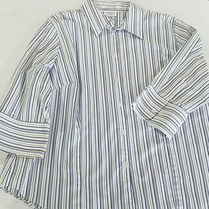 George Tops - George Blue White stripe Button Blouse 18w/20w